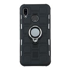 Funda Bumper Silicona y Plastico Mate Carcasa con Anillo de dedo Soporte S01 para Huawei P20 Lite Negro