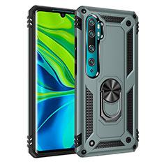 Funda Bumper Silicona y Plastico Mate Carcasa con Magnetico Anillo de dedo Soporte D01 para Xiaomi Mi Note 10 Verde
