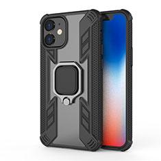 Funda Bumper Silicona y Plastico Mate Carcasa con Magnetico Anillo de dedo Soporte M01 para Apple iPhone 12 Mini Negro