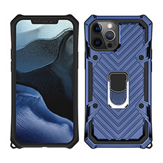 Funda Bumper Silicona y Plastico Mate Carcasa con Magnetico Anillo de dedo Soporte M01 para Apple iPhone 12 Pro Max Azul
