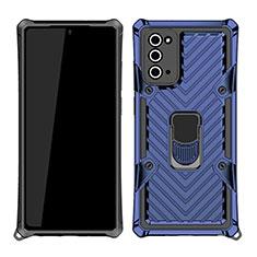 Funda Bumper Silicona y Plastico Mate Carcasa con Magnetico Anillo de dedo Soporte N03 para Samsung Galaxy Note 20 5G Azul