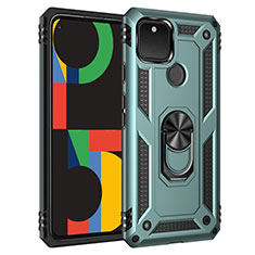 Funda Bumper Silicona y Plastico Mate Carcasa con Magnetico Anillo de dedo Soporte para Google Pixel 5 Menta Verde