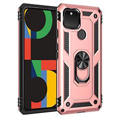 Funda Bumper Silicona y Plastico Mate Carcasa con Magnetico Anillo de dedo Soporte para Google Pixel 5 Oro Rosa