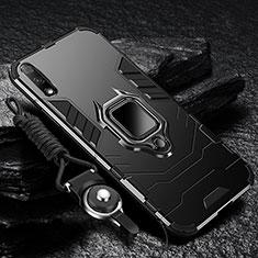 Funda Bumper Silicona y Plastico Mate Carcasa con Magnetico Anillo de dedo Soporte para Huawei Enjoy 10 Negro