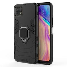Funda Bumper Silicona y Plastico Mate Carcasa con Magnetico Anillo de dedo Soporte para Huawei Enjoy 20 5G Negro