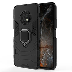 Funda Bumper Silicona y Plastico Mate Carcasa con Magnetico Anillo de dedo Soporte para Huawei Enjoy 20 Plus 5G Negro