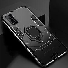 Funda Bumper Silicona y Plastico Mate Carcasa con Magnetico Anillo de dedo Soporte para Huawei Honor Play4T Pro Negro