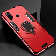 Funda Bumper Silicona y Plastico Mate Carcasa con Magnetico Anillo de dedo Soporte para Huawei Honor Play4T Rojo
