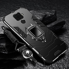 Funda Bumper Silicona y Plastico Mate Carcasa con Magnetico Anillo de dedo Soporte para Huawei Mate 30 Lite Negro