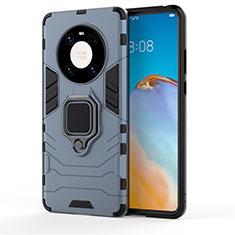 Funda Bumper Silicona y Plastico Mate Carcasa con Magnetico Anillo de dedo Soporte para Huawei Mate 40 Pro Azul