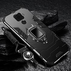 Funda Bumper Silicona y Plastico Mate Carcasa con Magnetico Anillo de dedo Soporte para Huawei Nova 5i Pro Negro