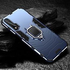 Funda Bumper Silicona y Plastico Mate Carcasa con Magnetico Anillo de dedo Soporte para Huawei Nova 6 5G Azul