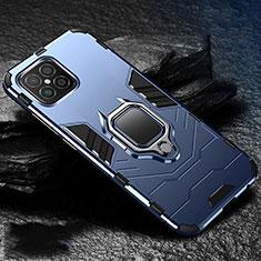 Funda Bumper Silicona y Plastico Mate Carcasa con Magnetico Anillo de dedo Soporte para Huawei Nova 8 SE 5G Azul
