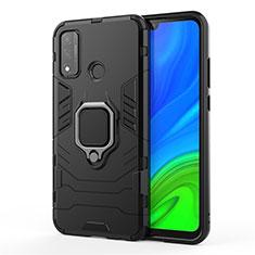 Funda Bumper Silicona y Plastico Mate Carcasa con Magnetico Anillo de dedo Soporte para Huawei P Smart (2020) Negro