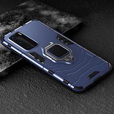 Funda Bumper Silicona y Plastico Mate Carcasa con Magnetico Anillo de dedo Soporte para Huawei P40 Pro Azul