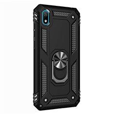 Funda Bumper Silicona y Plastico Mate Carcasa con Magnetico Anillo de dedo Soporte para Huawei Y5 (2019) Negro