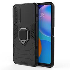 Funda Bumper Silicona y Plastico Mate Carcasa con Magnetico Anillo de dedo Soporte para Huawei Y7a Negro