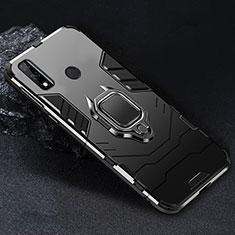 Funda Bumper Silicona y Plastico Mate Carcasa con Magnetico Anillo de dedo Soporte para Huawei Y8s Negro