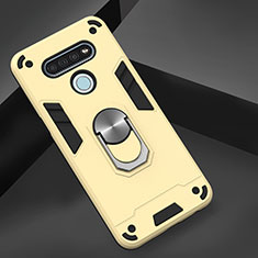 Funda Bumper Silicona y Plastico Mate Carcasa con Magnetico Anillo de dedo Soporte para LG K51 Oro