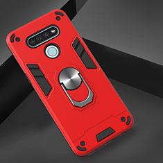 Funda Bumper Silicona y Plastico Mate Carcasa con Magnetico Anillo de dedo Soporte para LG K51 Rojo