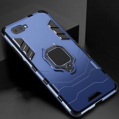 Funda Bumper Silicona y Plastico Mate Carcasa con Magnetico Anillo de dedo Soporte para Oppo A12e Azul