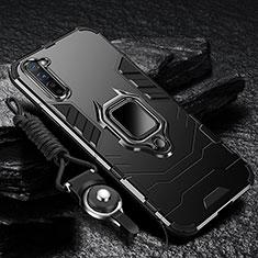 Funda Bumper Silicona y Plastico Mate Carcasa con Magnetico Anillo de dedo Soporte para Oppo F15 Negro
