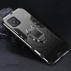 Funda Bumper Silicona y Plastico Mate Carcasa con Magnetico Anillo de dedo Soporte para Oppo Reno4 Z 5G Negro