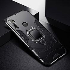 Funda Bumper Silicona y Plastico Mate Carcasa con Magnetico Anillo de dedo Soporte para Realme 5 Pro Negro