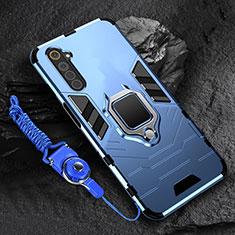 Funda Bumper Silicona y Plastico Mate Carcasa con Magnetico Anillo de dedo Soporte para Realme 6 Azul