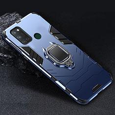 Funda Bumper Silicona y Plastico Mate Carcasa con Magnetico Anillo de dedo Soporte para Realme C17 Azul