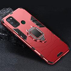 Funda Bumper Silicona y Plastico Mate Carcasa con Magnetico Anillo de dedo Soporte para Realme C17 Rojo