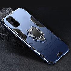 Funda Bumper Silicona y Plastico Mate Carcasa con Magnetico Anillo de dedo Soporte para Realme V5 5G Azul