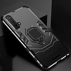 Funda Bumper Silicona y Plastico Mate Carcasa con Magnetico Anillo de dedo Soporte para Realme X3 Negro
