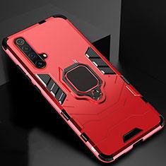 Funda Bumper Silicona y Plastico Mate Carcasa con Magnetico Anillo de dedo Soporte para Realme X3 Rojo