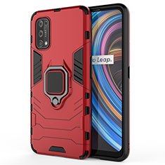 Funda Bumper Silicona y Plastico Mate Carcasa con Magnetico Anillo de dedo Soporte para Realme X7 Pro 5G Rojo