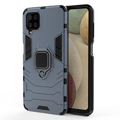 Funda Bumper Silicona y Plastico Mate Carcasa con Magnetico Anillo de dedo Soporte para Samsung Galaxy A12 Azul