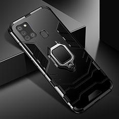 Funda Bumper Silicona y Plastico Mate Carcasa con Magnetico Anillo de dedo Soporte para Samsung Galaxy A21s Negro