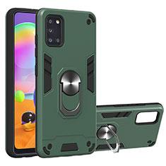 Funda Bumper Silicona y Plastico Mate Carcasa con Magnetico Anillo de dedo Soporte para Samsung Galaxy A31 Verde