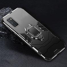 Funda Bumper Silicona y Plastico Mate Carcasa con Magnetico Anillo de dedo Soporte para Samsung Galaxy A41 Negro