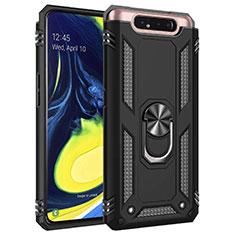 Funda Bumper Silicona y Plastico Mate Carcasa con Magnetico Anillo de dedo Soporte para Samsung Galaxy A80 Negro