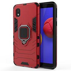 Funda Bumper Silicona y Plastico Mate Carcasa con Magnetico Anillo de dedo Soporte para Samsung Galaxy M01 Core Rojo