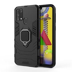 Funda Bumper Silicona y Plastico Mate Carcasa con Magnetico Anillo de dedo Soporte para Samsung Galaxy M21s Negro