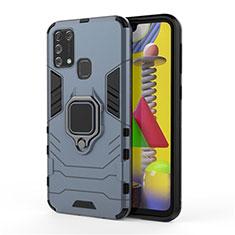 Funda Bumper Silicona y Plastico Mate Carcasa con Magnetico Anillo de dedo Soporte para Samsung Galaxy M31 Azul
