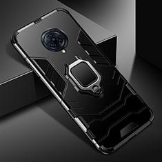 Funda Bumper Silicona y Plastico Mate Carcasa con Magnetico Anillo de dedo Soporte para Vivo Nex 3 5G Negro
