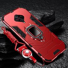 Funda Bumper Silicona y Plastico Mate Carcasa con Magnetico Anillo de dedo Soporte para Vivo X50 Lite Rojo
