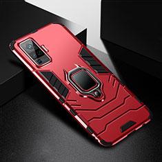 Funda Bumper Silicona y Plastico Mate Carcasa con Magnetico Anillo de dedo Soporte para Vivo X50 Pro 5G Rojo