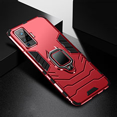 Funda Bumper Silicona y Plastico Mate Carcasa con Magnetico Anillo de dedo Soporte para Vivo X51 5G Rojo