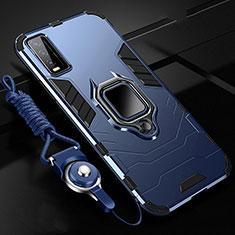 Funda Bumper Silicona y Plastico Mate Carcasa con Magnetico Anillo de dedo Soporte para Vivo Y12s Azul