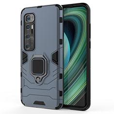 Funda Bumper Silicona y Plastico Mate Carcasa con Magnetico Anillo de dedo Soporte para Xiaomi Mi 10 Ultra Azul