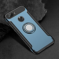 Funda Bumper Silicona y Plastico Mate Carcasa con Magnetico Anillo de dedo Soporte para Xiaomi Mi 8 Lite Azul